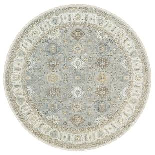 Frost Gray Karajeh and Geometric Design Wool Hand