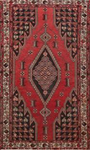Antique Tribal Hamedan Persian Area Rug 4x7
