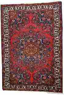 Handmade vintage Persian Mashad rug 4.6' x 6.4' (141cm