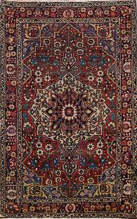 Antique Vegetable Dye Bakhtiari Persian Area Rug 5x7