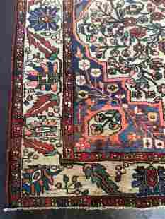 Handmade vintage prayer Turkmen Hachli rug 4.2' x 6'
