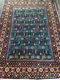 Handmade vintage Prayer Turkish Konya rug 2.6' x 4.3'