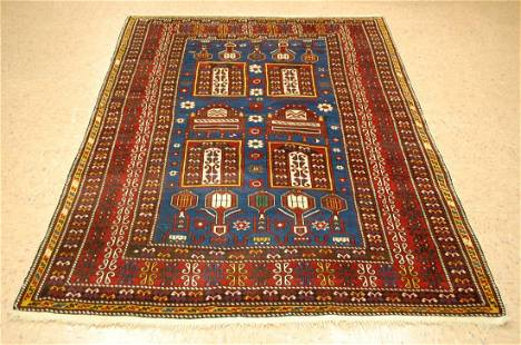 Pre 1900's ANTIQUE CAUCASIAN SHIRVAN RUG 4.4x6.7 FROM A