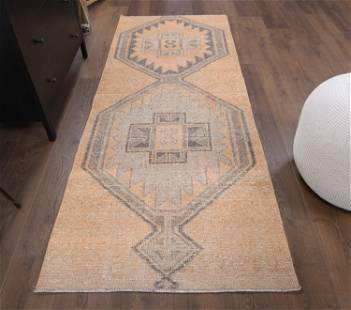 3x8 VINTAGE RUNNER Turkish Oushak Handmade Wool Rug,