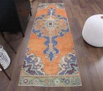 3x8 Vintage Turkish Oushak Rug, Small Carpet, Handmade