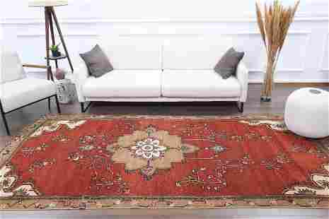 5x11 Vintage Turkish Oushak Area Rug, Handmade Wool