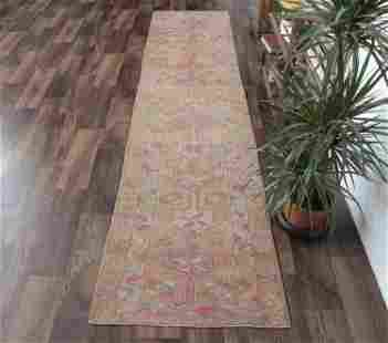 3x10 HAND-KNOTTED Vintage Turkish Oushak Runner, Wool,