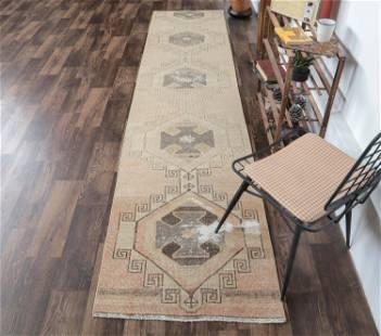 3x11 ANTIQUE RUNNER Turkish Oushak Handmade Wool Rug,