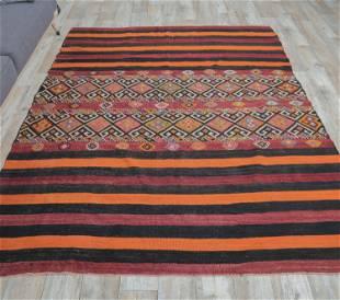 5x7 Vintage Turkish KILIM Area Rug, Oushak Handmade