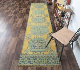 3x11 Yellow Turkish Vintage Runner, Oushak Handmade