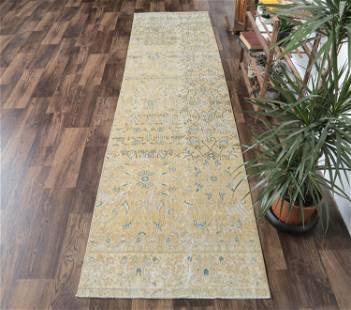 3x10 ANTIQUE Turkish Runner, Oushak Handmade Wool Rug,