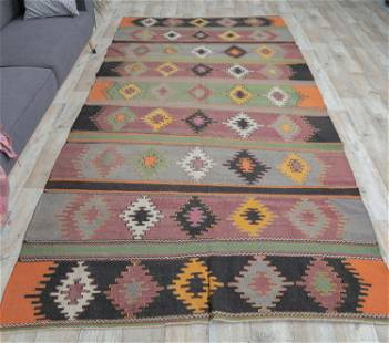 6x13 Vintage Turkish KILIM Area Rug, Oushak Handmade