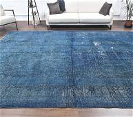 9x13 Turkish Vintage Night Blue Colored Carpet,