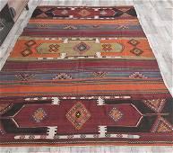 6x9 Vintage Turkish KILIM Area Rug, Oushak Handmade