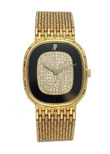 Audemars Piguet 18K Yellow Gold Onyx and Diamond Dial