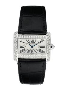 Cartier Tank Divan 2613 Diamond & 18K White Gold Ladies