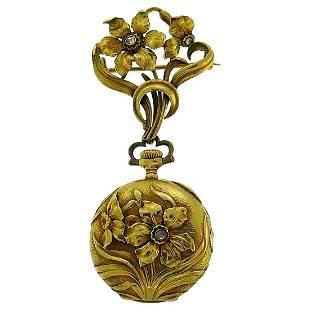Victorian Patek Philippe Gold Lapel Watch Pocket