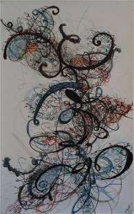 """Dancing with Words, mix media on paper,2016, 30"""" x"""