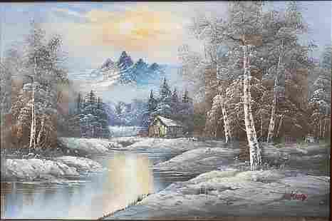 King, Winter, Oil on Canvas, Framed