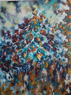 """Roya Mansourkhani, Isfahan II,2014,Oil on Canvas 48.5""""x"""