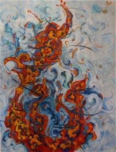 "Roya Mansourkhani , Dance of Fire, Oil Painting, 70"" x"