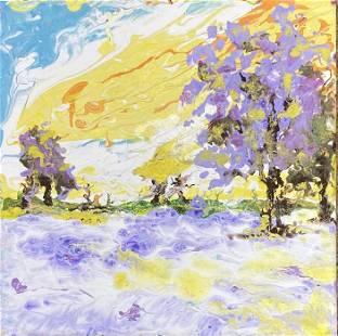 Roya Mansourkhani, Purple & Yellow Winter, Acrylic