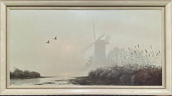 """Coulsoal, Mill in the Mist, Print, 19"""" x 37"""""""
