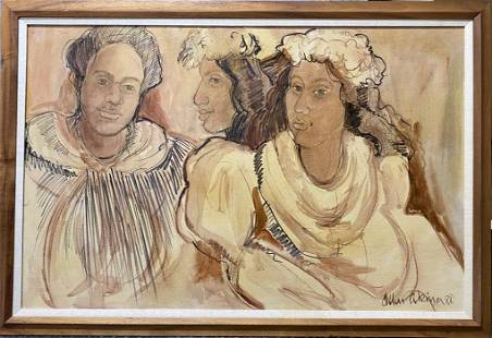 Allen Akina, Hawaiian Ladies, original signed painting