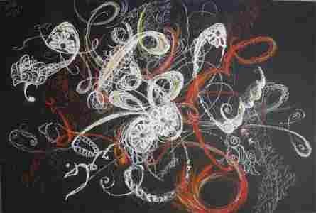 Roya Mansourkhani, Blooming, 2016, pastel, collage,