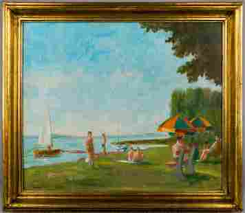 JANOS DIENES   Bathers at Lake Balaton (Hungarian
