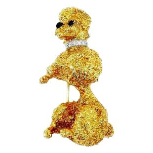 William Ruser Vintage Yellow Gold Diamond Onyx Poodle