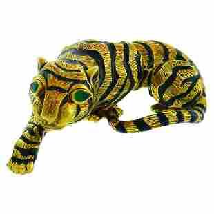 Vintage David Webb Yellow Gold Tiger Pin Brooch Clip