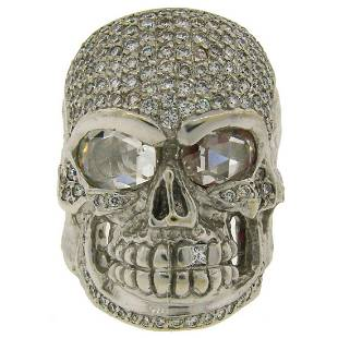 Loree Rodkin Diamond White Gold Skull Ring