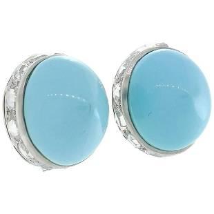Fred Leighton Turquoise Diamond Platinum Earrings