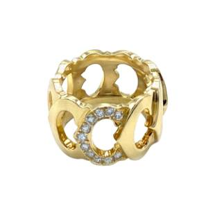 Vintage Cartier Yellow Gold and Diamond Logo Band Ring
