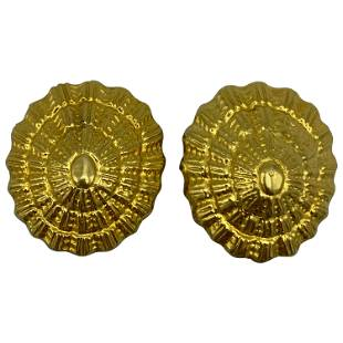 Vintage Ilias Lalaounis Yellow Gold Shell Clip- On