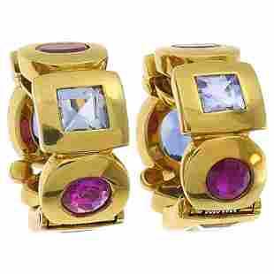 Vintage Chanel 18k Gold Gems Huggie Earrings