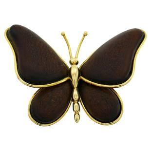 Van Cleef & Arpels Wood Gold Butterfly Pin Brooch Clip