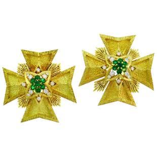 Van Cleef & Arpels Maltese Cross Pin Brooch Clip