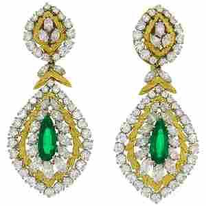 David Webb Emerald Diamond 18k Gold Earrings Day and