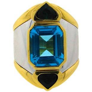 Marina B Gold Ring with Blue Topaz Green Tourmaline