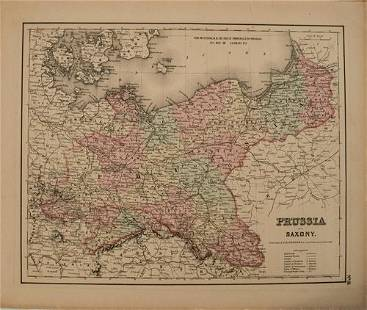 1855 Colton Map of Prussia and Saxony -- Prussia and