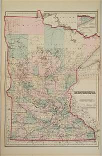 1867 Colton Map of Minnesota -- Minnesota