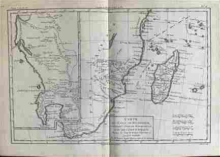 Southern Africa, Mozambique and Madagascar by Bonne/