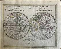 World in double globe projection, RARE Swedish issue by