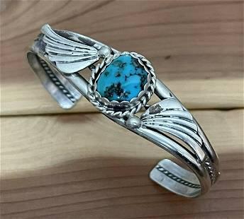Harrison Yazzie Cuff Bracelet Sterling Silver Turquoise