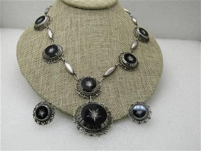 Vintage Sterling Obsidian Glass Carved Necklace Set,