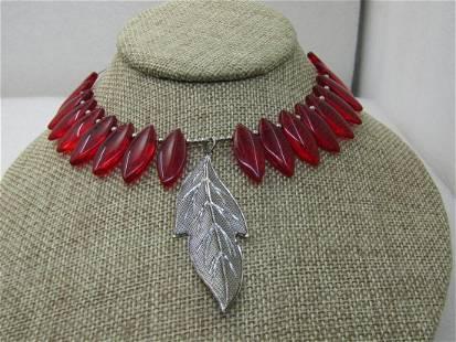 """Vintage Red Leaf & Silver Leaf Choker Necklace, 13"""","""
