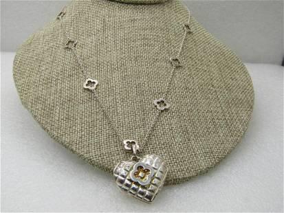 "Vintage Sterling Heidi Klum Heart Locket Necklace, 20"","