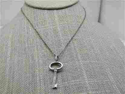 "Vintage Sterling Key Necklace, Diamonds, 19"" Signed"